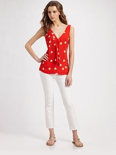 Love the red and the hearts! Tory Burch Jaquetta Silk Georgette Tank.
