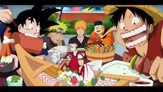 every main character eats like crazy... except for Ichigo.