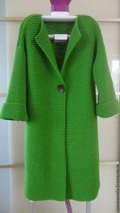 Gorgeous grass green knit coat in garter stitch w/ 1 button - inspo (hva)