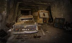 Old cars found in a tunnel of France