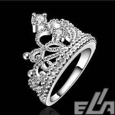 fashion jewelry silver plated vintage jewelry aliancas casamento austrian crystal crown rings for women