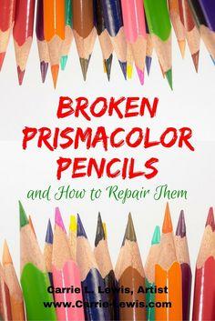 What can you do about broken pigment cores in Prismacolor pencils? Two tips for repairing wax-based colored pencils. www.carrie-lewis.... Repinned by www.complicatedcoloring.com