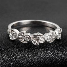 Art Deco Ring Antique Style Milgrain Diamond Ring 14K White Gold/Yellow Gold/Rose Gold Floral Eternity Wedding Band Anniversary Ring on Etsy, $369.00