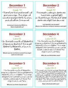 Advent Calendar Devotions - go to this website to see days 7-24 scriptures