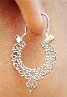 Sterling silver Balinese ethnic earrings