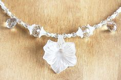 Modern Bridal Necklace. Large Flower. Clear by KapKaDesign on Etsy, $47.00