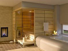 Steam rooms or Home Saunas. 10 Amazing Home sauna or steam room Ideas and Designs for indoor and outdoor relaxation at home. Design Sauna, Step Bench, Building A Sauna, Light Colored Wood, Wooden Room, Sauna Room, Relaxation Room, Relaxing Room, Modern Fireplace