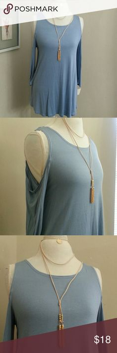 """Cold Shoulder Swing and Necklace Pretty dusty blue swing top with Cutout shoulder and half sleeve.Comes with leather cord tassle necklace!  18""""bust 26""""length  Stretchy rayon spandex blend Ultra Flirt Tops"""