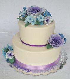 Purple Ombre Rose Cake