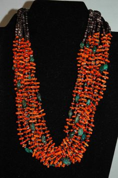 Museam Contemporist Navajo Whitegoat Orange Coral Apache Turquoise Santo Domingo Style Necklace