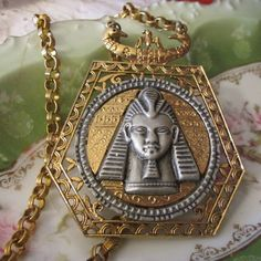 "Vintage 18"" RARE Eqyptian Revival King Tut Pharaoh NECKLACE marked ART Museum Quality Unique Design Women's Gift, Birthday, 1970's by GrammiesCupboard on Etsy"