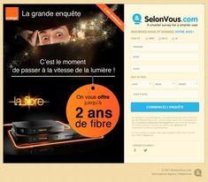 Orange landing survey contest Date, Code Postal, Orange, Landing, Web Design, Movie Posters, Design Web, Film Poster, Website Designs