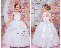 Chiffon Flower Girl Dress Birthday Wedding by KingdomBoutiqueUA