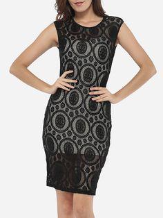 Round Neck Dacron Hollow Out Lace Plain Bodycon Dress