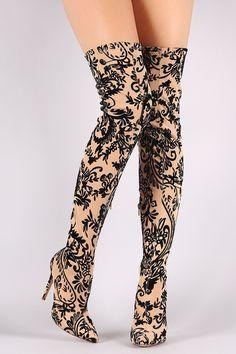 Liliana Fleur De Lis Burnout Velvet Stiletto Over-The-Knee Boots