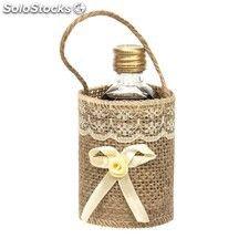 Detalles boda: bolsas fabricadas en tela de yute para entregar tus licores a tus invitados