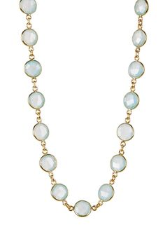 Sea Green Chalcedony Station Necklace from HauteLook on shop.CatalogSpree.com, your personal digital mall.
