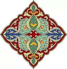 Red, green, blue and orange diamond shaped Arabesque Design View Large Clip Art Graphic Islamic Motifs, Islamic Art Pattern, Tile Patterns, Pattern Art, Arabesque Design, Persian Pattern, Iranian Art, Turkish Art, Arabic Art