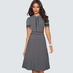 50s Style Business Office Work Party Cocktail Holiday Short Sleeve Dress USA