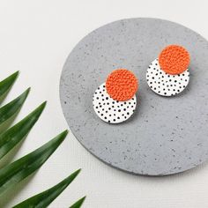 Orange earrings Statement polymer clay jewelry   Etsy Orange Earrings, Earrings Photo, Copper And Brass, Small Earrings, Polymer Clay Earrings, Doll Face, Statement Earrings, Allergies, I Am Awesome