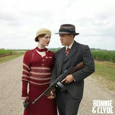 Bonnie and Clyde. Inspiration for Hélène's red sweater and skirt.