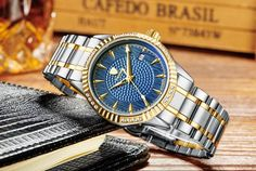 Tevise Mechanical Automatic watch with a stainless steel bracelet, golden bezel and a blue face Mechanical Watch, Automatic Watch, Stainless Steel Bracelet, Michael Kors Watch, Bracelet Watch, Watches, Bracelets, Face, Accessories