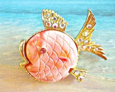 Pink Puffer Fish Brooch Pin BOOK PIECE Carved by RenaissanceFair