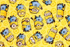 """Disney Minions Oxford Fabric made in Japan, FQ 45cm by 53cm or 18"""" by 21"""" by SewingdoingShop on Etsy https://www.etsy.com/listing/448848096/disney-minions-oxford-fabric-made-in"""