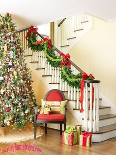49 adorable christmas stairs decoration ideas - Stairway Christmas Decorating Ideas Pinterest
