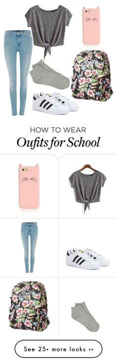 """school"" by naylaputri on Polyvore Casual Summer Dresses, Dresses For Teens, Outfits For Teens, High School Outfits, College Outfits, Kohls Dresses, Amazon Dresses, Fashion 2017, Fashion Outfits"