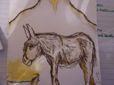 Donkey and Nativity Christmas Card in inks.