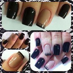 Nude com Preto e Rendinha White Nails, Nail Designs, Nail Polish, Beauty, Black, Beige Nail, Black Nails, Nail Bling, Fairy