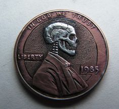 This is a Made to Order Hobo Nickel Skull carved on a Lincoln penny. The Skull you will receive will be similar to the one pictured. Please keep in mind that these are hand carved and one of a kind. No two skulls will be alike. A truly unique piece of art.