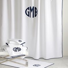 Chiaro towels & shower curtain by Matouk - a great personalized gift for Dad.