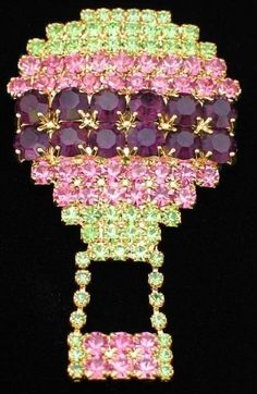 "RHINESTONE GREEN PINK PURPLE HOT AIR BALLOON PIN BROOCH JEWELRY MOVABLE 2.50"" #Unbranded"