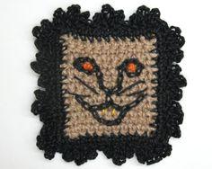 "Black Cat Wall Art - Halloween Wall Hanging - Spooky Decor - Primitive Cat Art - Scary Cat -  Handmade Jute 9"""