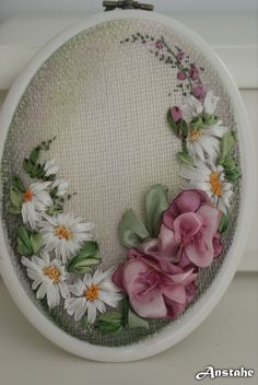 Wonderful Ribbon Embroidery Flowers by Hand Ideas. Enchanting Ribbon Embroidery Flowers by Hand Ideas. Ribbon Embroidery Tutorial, Silk Ribbon Embroidery, Embroidery Hoop Art, Cross Stitch Embroidery, Embroidery Designs, Ribbon Art, Ribbon Crafts, Red Ribbon, Ribbon Projects