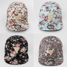 Floral Flower Hip Hop Snapback Hats Flat Adjustable Baseball Cap at Banggood