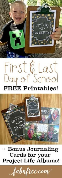Free First and Last Day of School Printables + Bonus Journaling and Project Life Cards // fabnfree.com