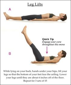 Leg Lifts. Add ankle weights for an extra challenge!