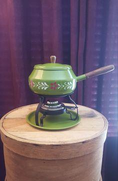 Vintage Fondue Pot Set Retro Green Fondue Pot Olive Green Pot Floral Fondue Pot Set Retro Kitchen Decor Home and Living Dinner Party