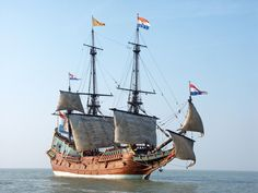 A superb replica of the Batavia under sail. The Dutch East India Company (Vereenigde Oostindische Compagnie, VOC) was a chartered company established in 1602, and is often considered to have been the first multinational corporation in the world and it was the first company to issue stock. It was also arguably the first megacorporation, possessing quasi-governmental powers, including the ability to wage war, imprison and execute convicts, nego