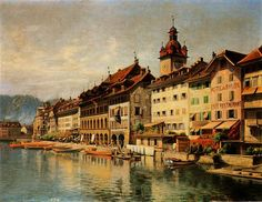 Right river bank with City Hall (Joseph Clemens Kaufmann) - Wikimedia Commons This piece of art was painted by Joseph Clemens. River Bank, Town Hall, Wikimedia Commons, Joseph, Tours, City, Pictures, Painting, Lucerne