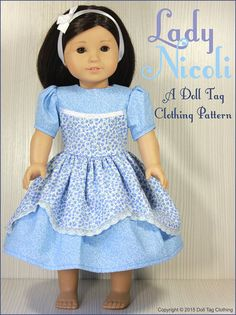 Dress Pattern for 18 inch dolls. Work with cotton and anglais to create a collectors piece. Doll Tag Clothing pattern from PixieFaire