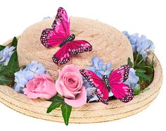 hat with flower sand butterflies with the pantone color of the year scheme (blue/pink) Easter Crafts, Crafts For Kids, Diy Crafts, Easter Hat Parade, Bonnet Hat, Diy Ostern, Spring Party, Flower Hats, Easter Eggs