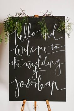 Signage - on wooden board rather than chalkboards  Georgeous Occasions - Welcome Sign LOVE