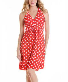 Look what I found on #zulily! Red & White Polka Dot Halter Dress by Talïa #zulilyfinds