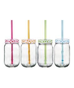 Look at this #zulilyfind! Polka Dot Mason Jar Tumbler Set by Home Essentials and Beyond #zulilyfinds
