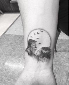 Frankenstein and his bride from artist @_dr_woo_ #Inked #Inkedmag #inkedgirls…