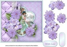 Lilac Cluster and Lace Decoupage Card Front by Mary MacBean Decoupage card front…